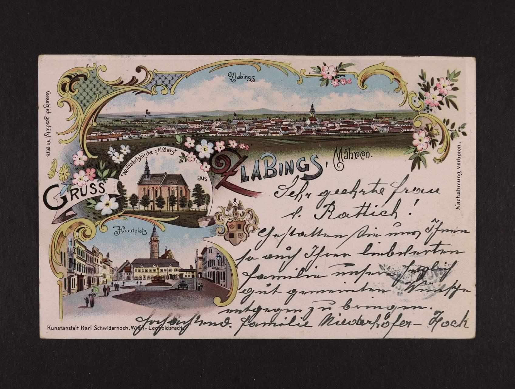 Slavonice - bar. litograf. koláž, použitá 1898, dobrá kvalita
