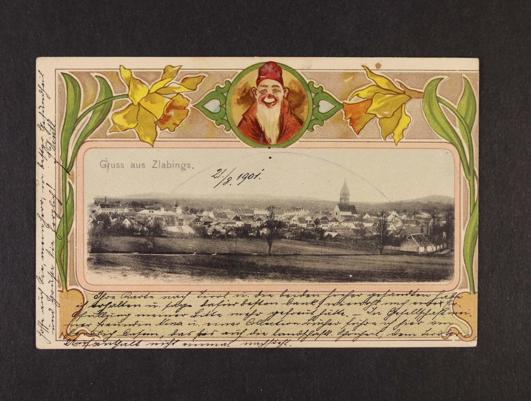 Slavonice - okénková koláž použitá 1901, dobrá kvalita