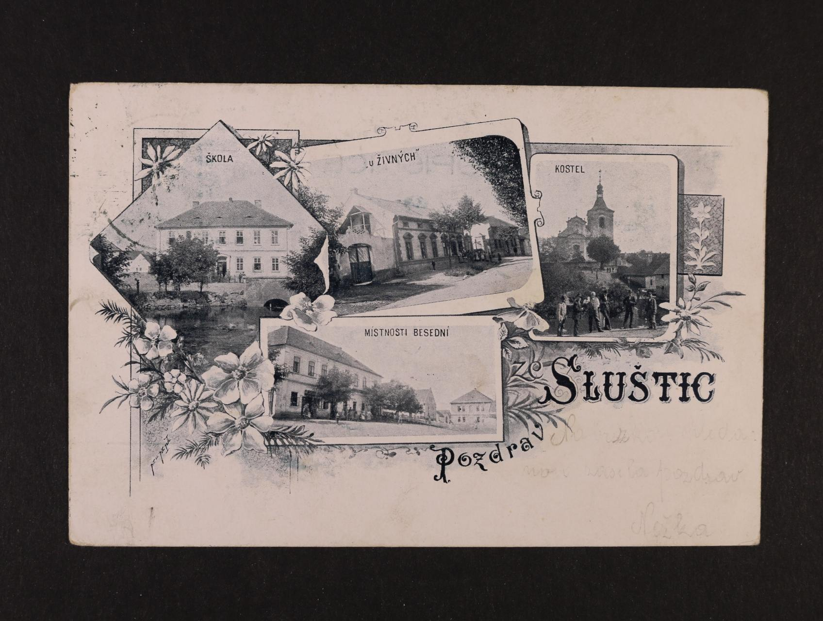 Sluštice - jednobar. litograf. koláž, dl. adresa, použitá 1900