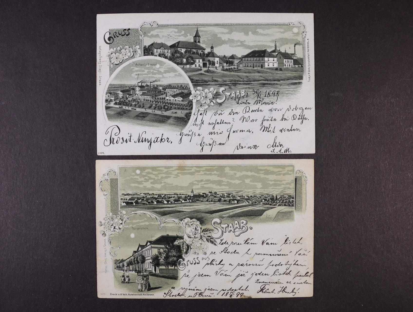 Stod u Plzně - dvě jednobar. litograf. koláže, dl.adresa, použité 1898 a 1899