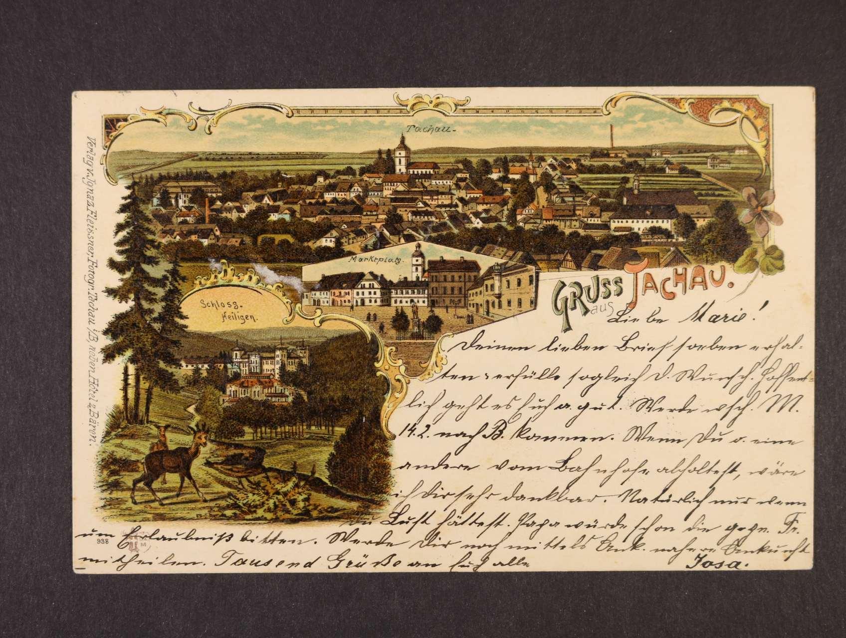 Tachov - bar. litograf. koláž, dl. adresa, použitá 1898