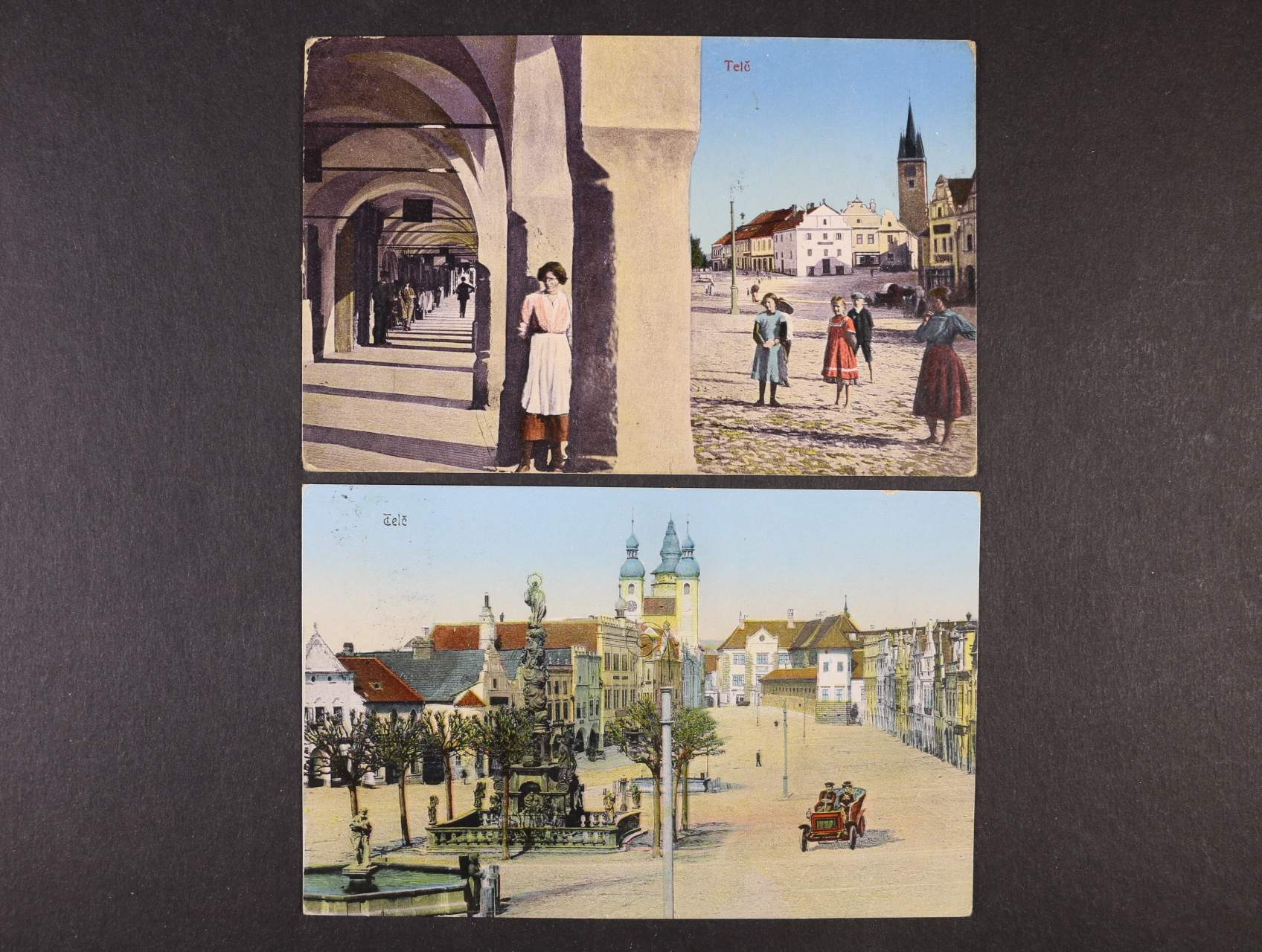 Telč - dvě bar. pohlednice použité v letech 1910 a 1916