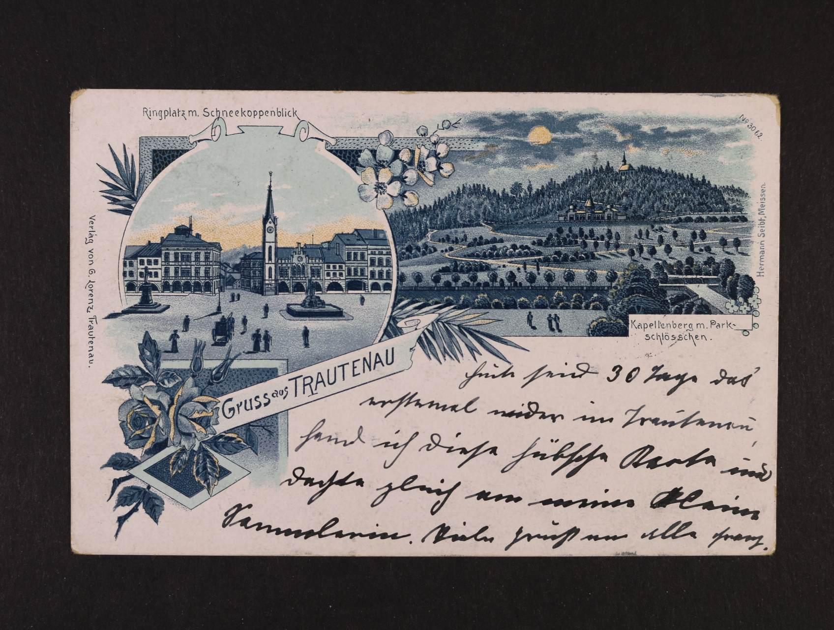 Trutnov - barevná litograf. koláž, dl. adresa, použitá 1899
