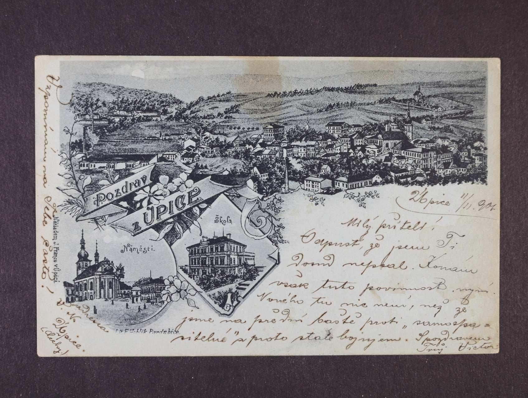 Úpice - jednobar. litograf. koláž, dl. adresa, použitá 1901