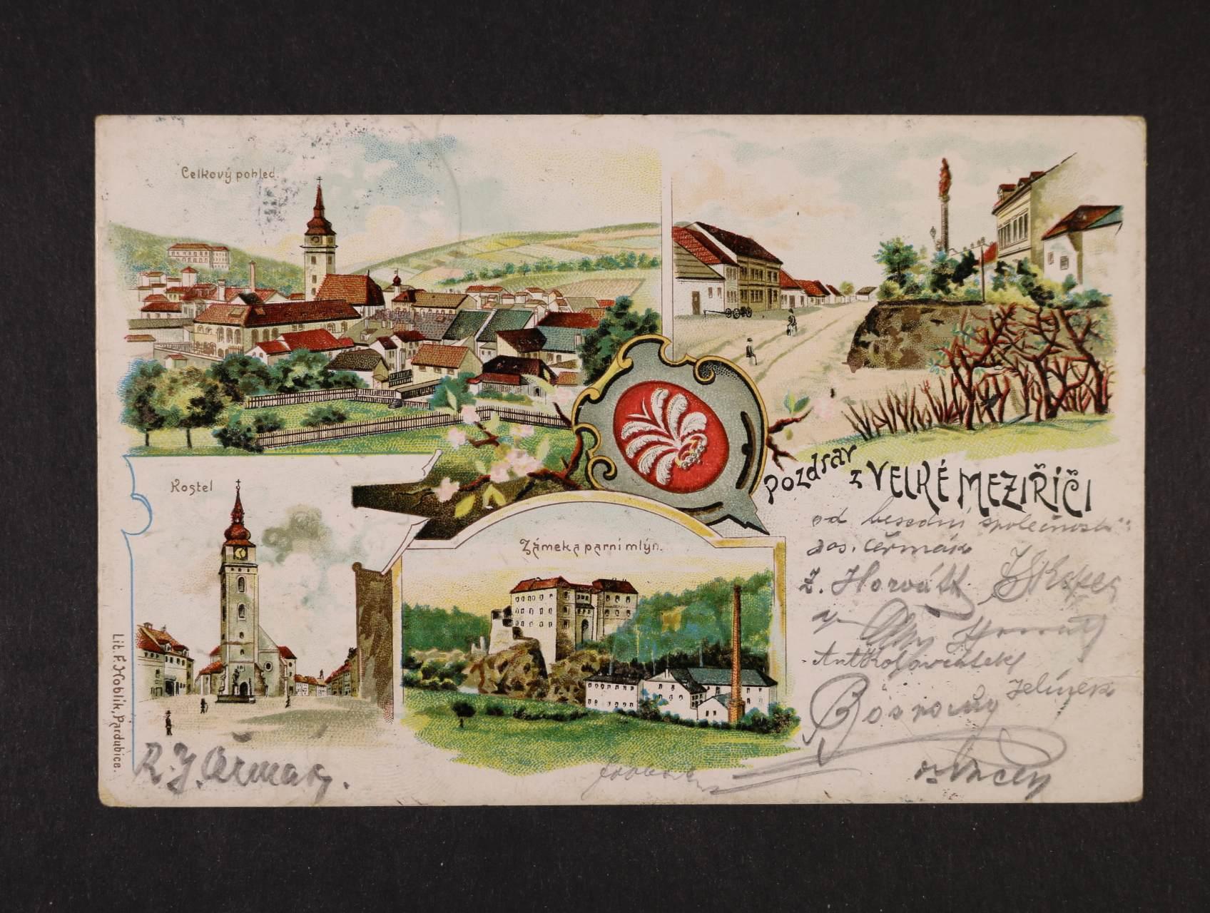 Velké Meziříčí - bar. lotograf. koláž použitá 1904
