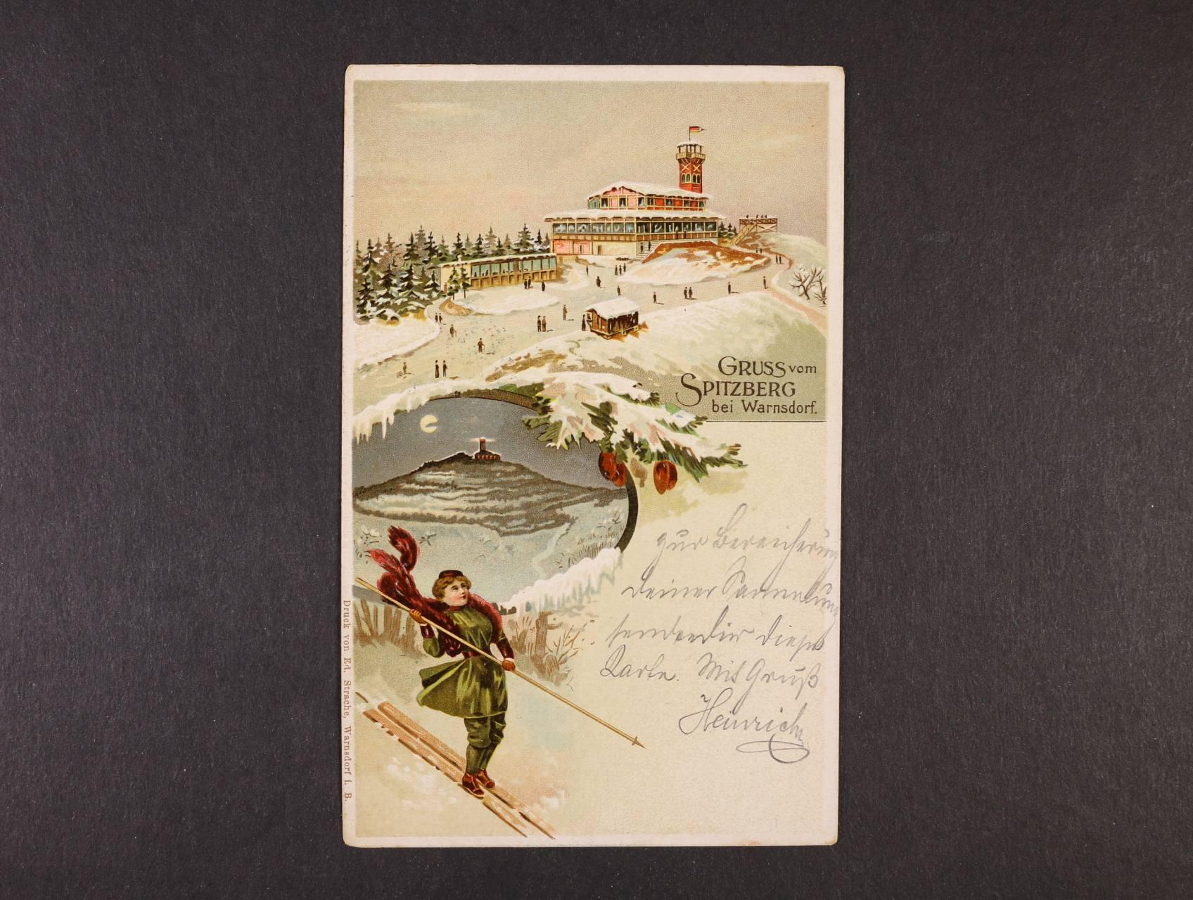Warnsdorf - bar. pohlednice Pozdrav ze Špičáku, použitá 1909, dobrá kvalita