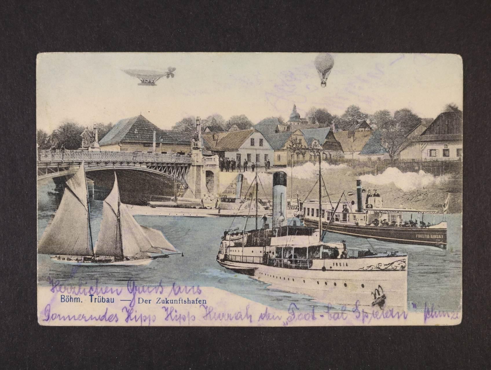 Česká Třebová - bar. litograf. koláž, použitá 1901, dobrá kvalita