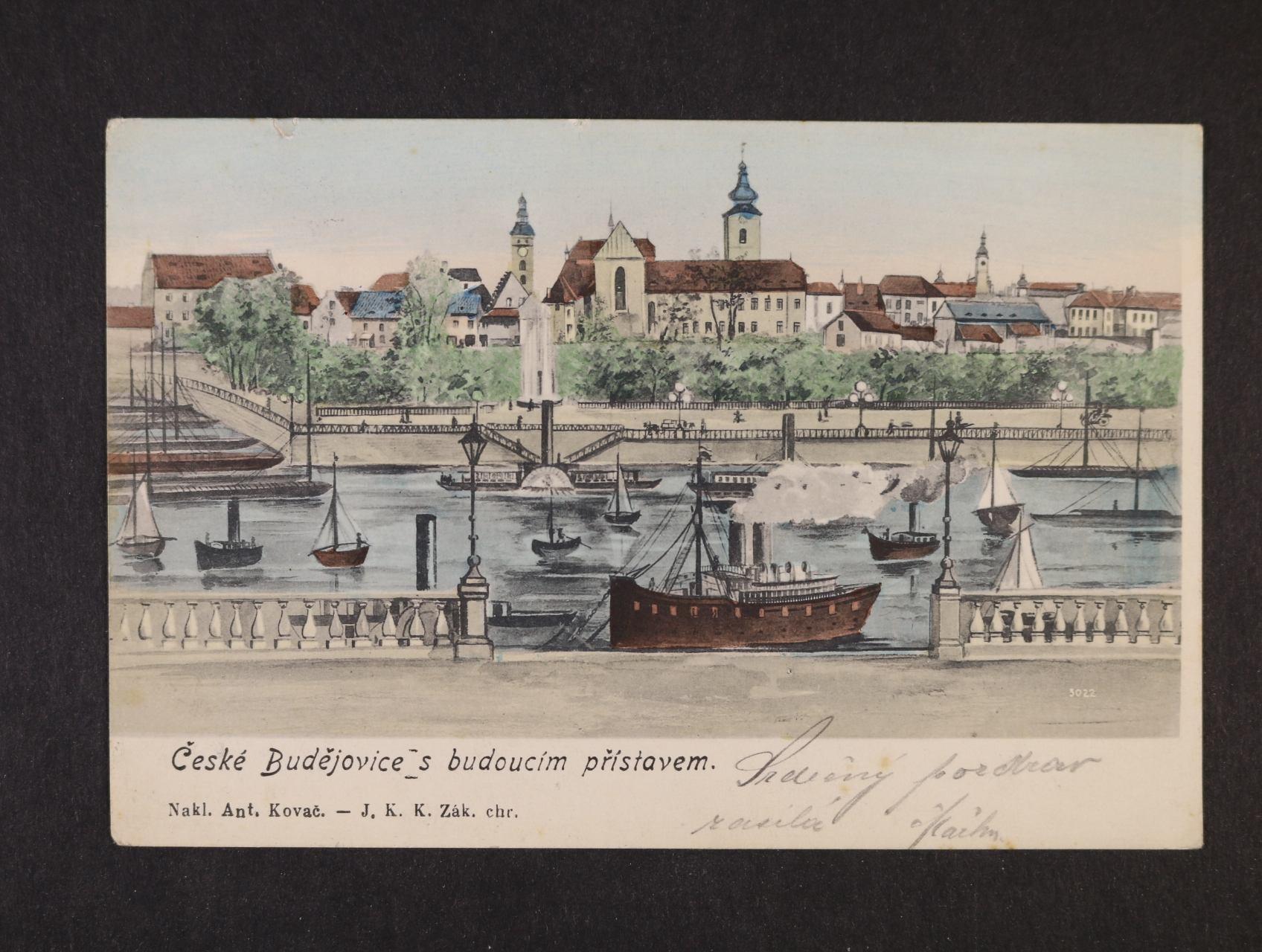 České Budějovice - bar. litograf. koláž, dl. adresa, použitá  1907, dobrá kvalita