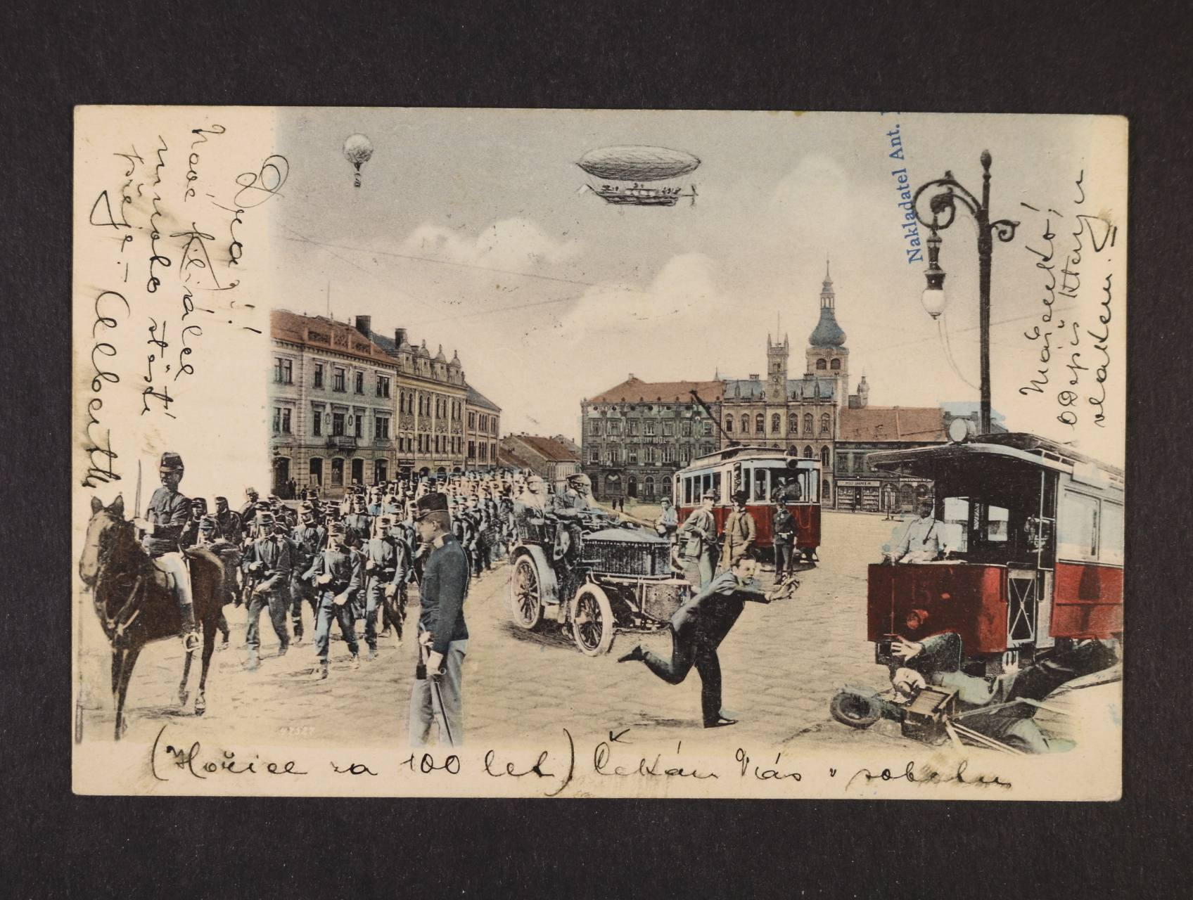 Hořice - bar. litograf. koláž, dl. adresa, použitá 1904, dobrá kvalita