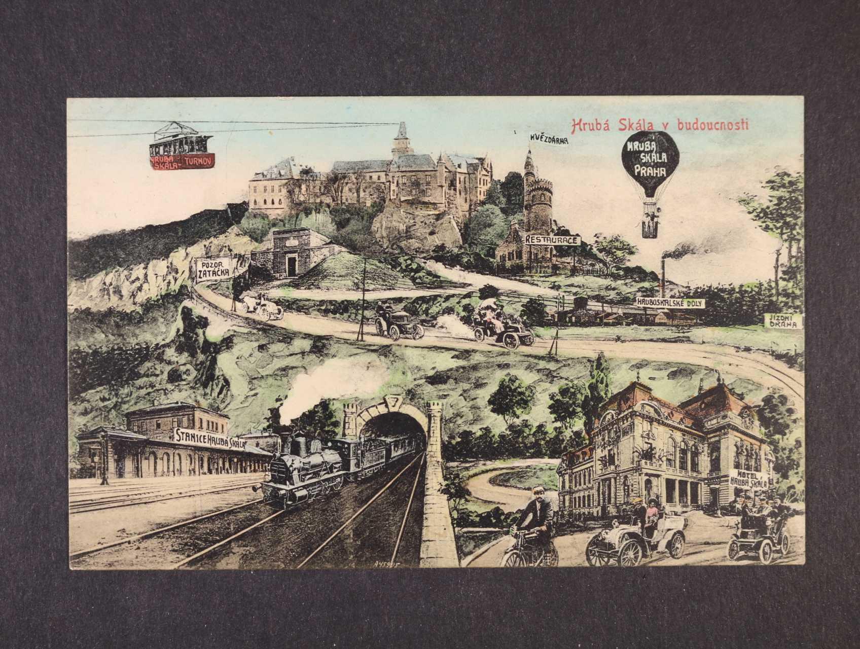 Hrubá Skála - bar. litografie použitá 1908, velmi dobrá kvalita