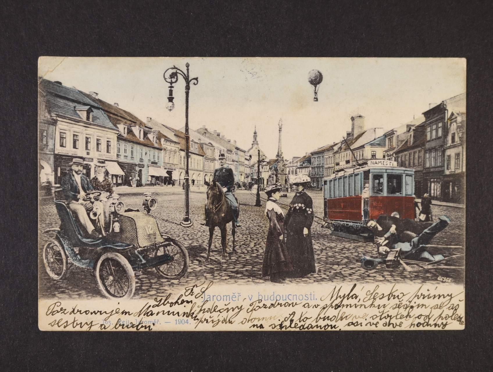 Jaroměř - bar. litograf. koláž, dl. adresa, použitá