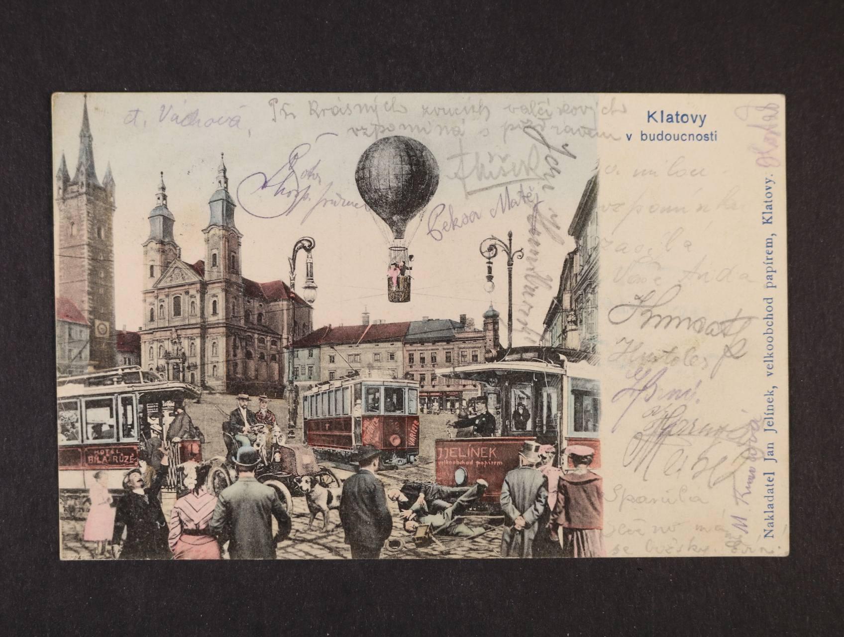 Klatovy - bar. litograf. koláž, dl. adresa, použitá 1904