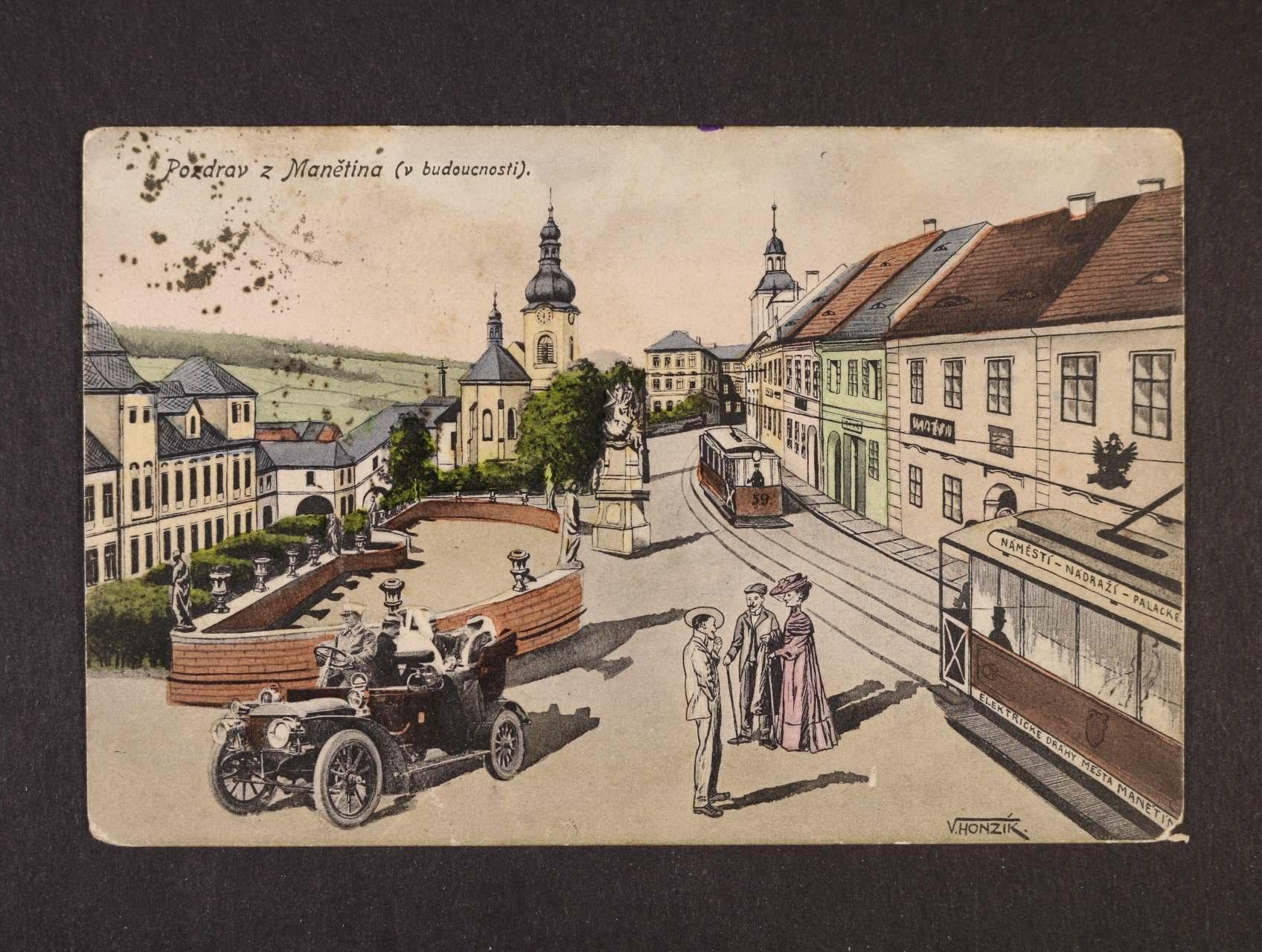 Manětín - bar. pohlednice použitá kolem r. 1910, k prohlédnutí