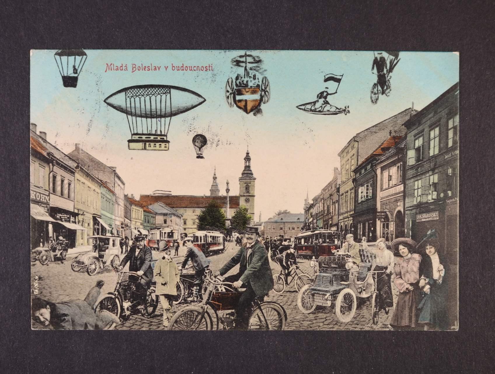 Mladá Boleslav - bar. koláž, použitá 1908, velmi dobrá kvalita