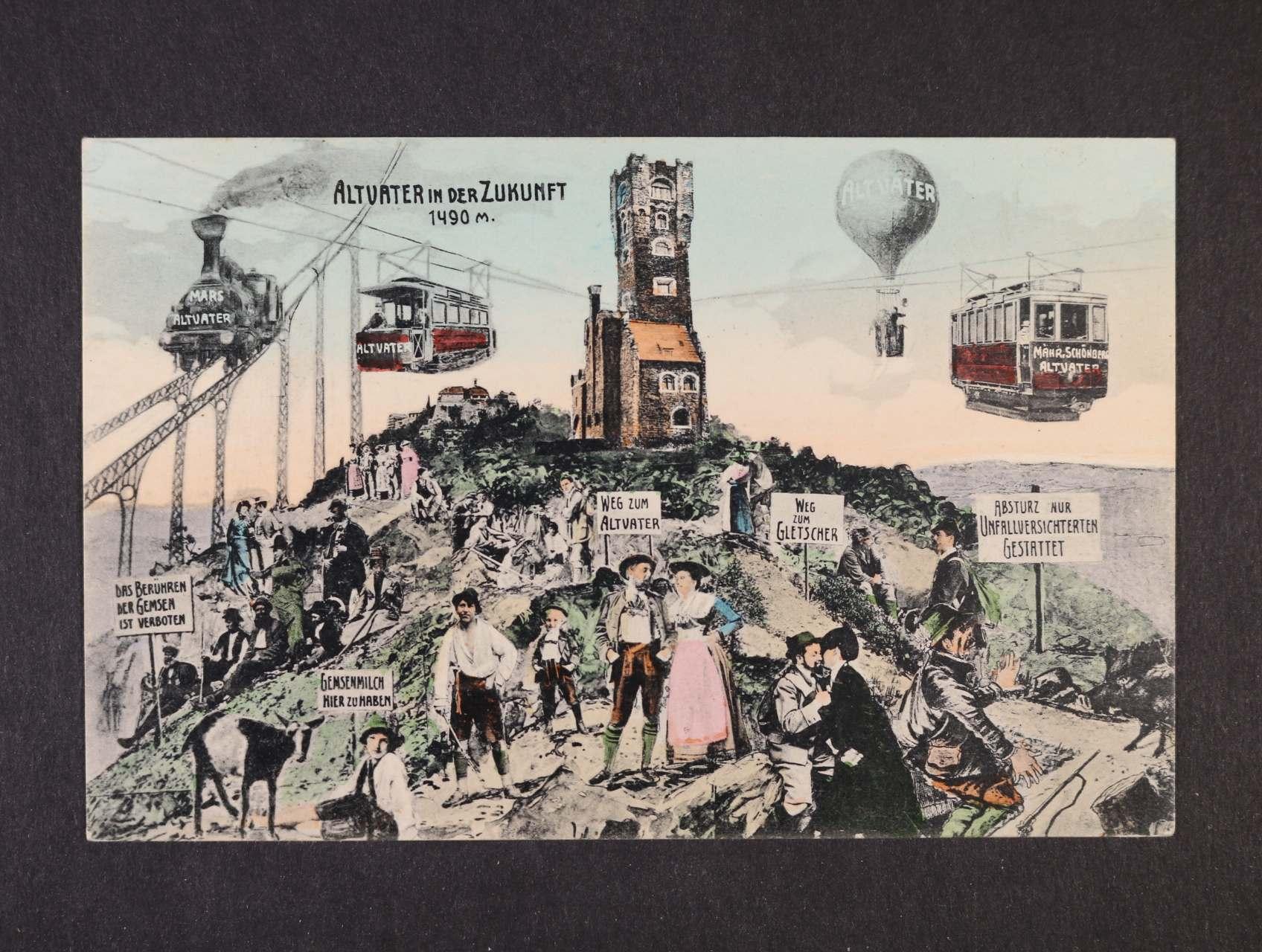 Praděd - Altvater in Zukunft - bar. litografie, nepoužitá, dobrá kvalita