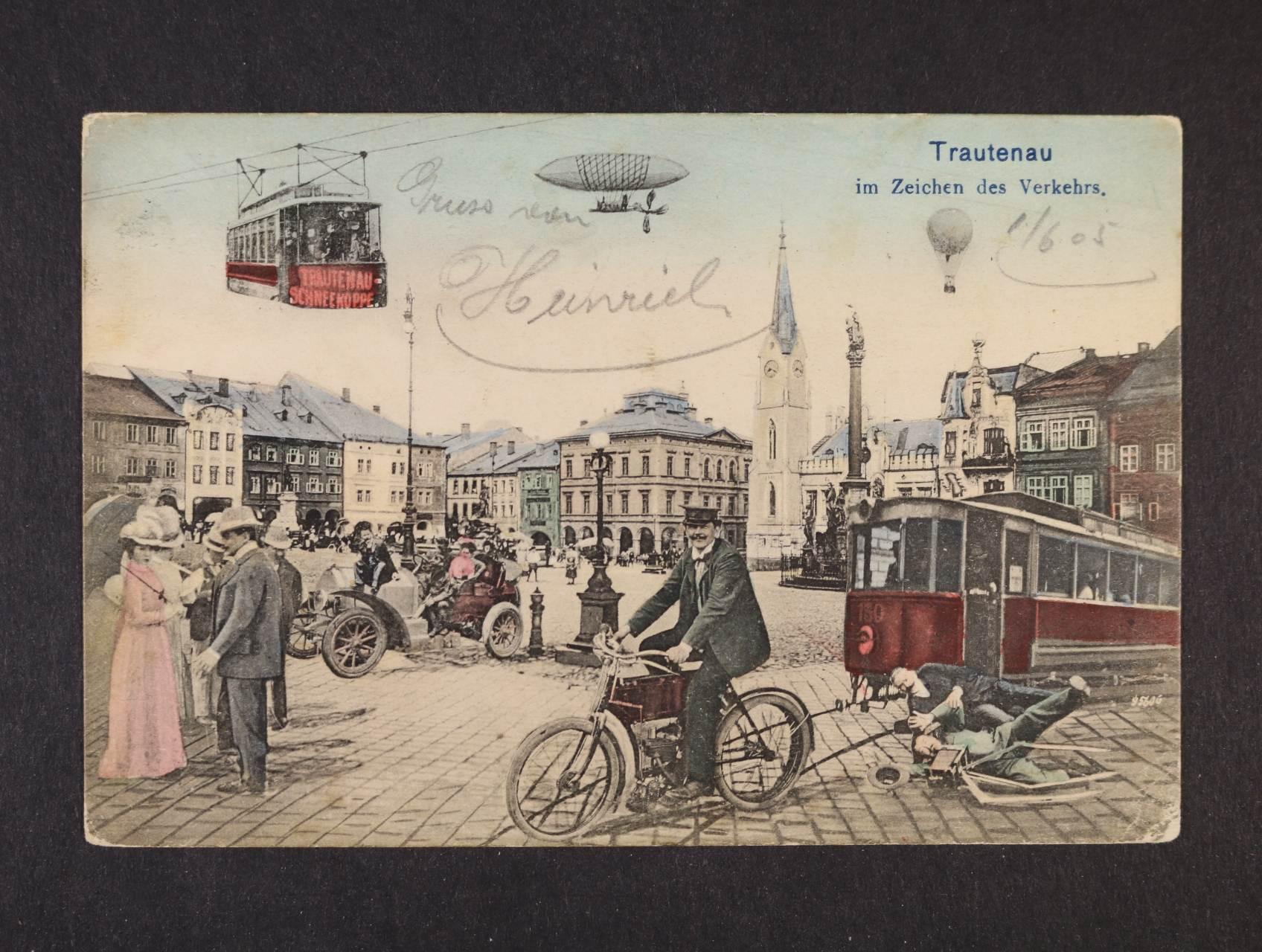 Trutnov - bar. litograf. koláž, dl. adresa, použitá 1905