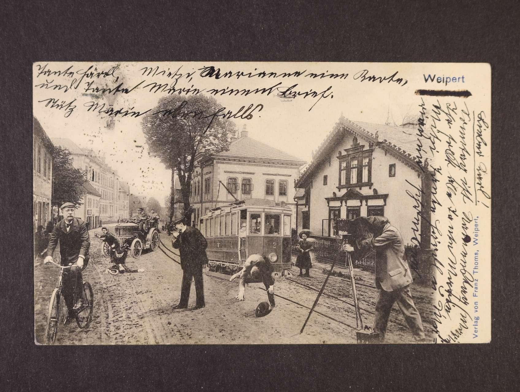 Vejprty - jednobar. litograf. koláž, dl. adresa, použitá 1904, lux. kvalita