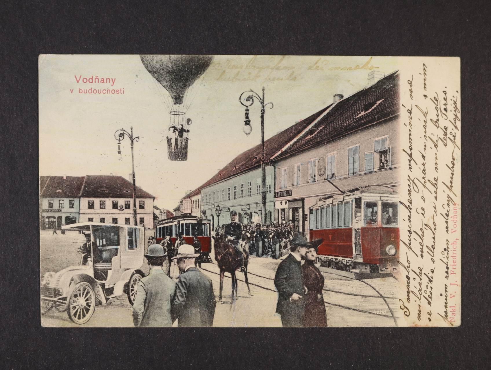 Vodňany - bar. litograf. koláž, dl. adresa, použitá 1904