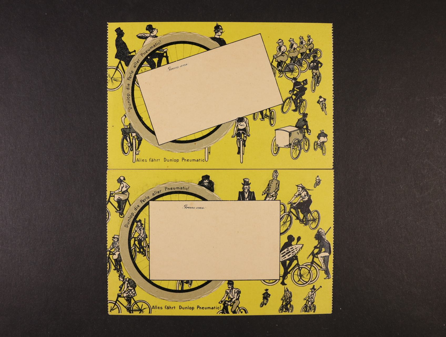 Cyklistika - dvě reklamní koláže fy. DUNLOP, nepoužité