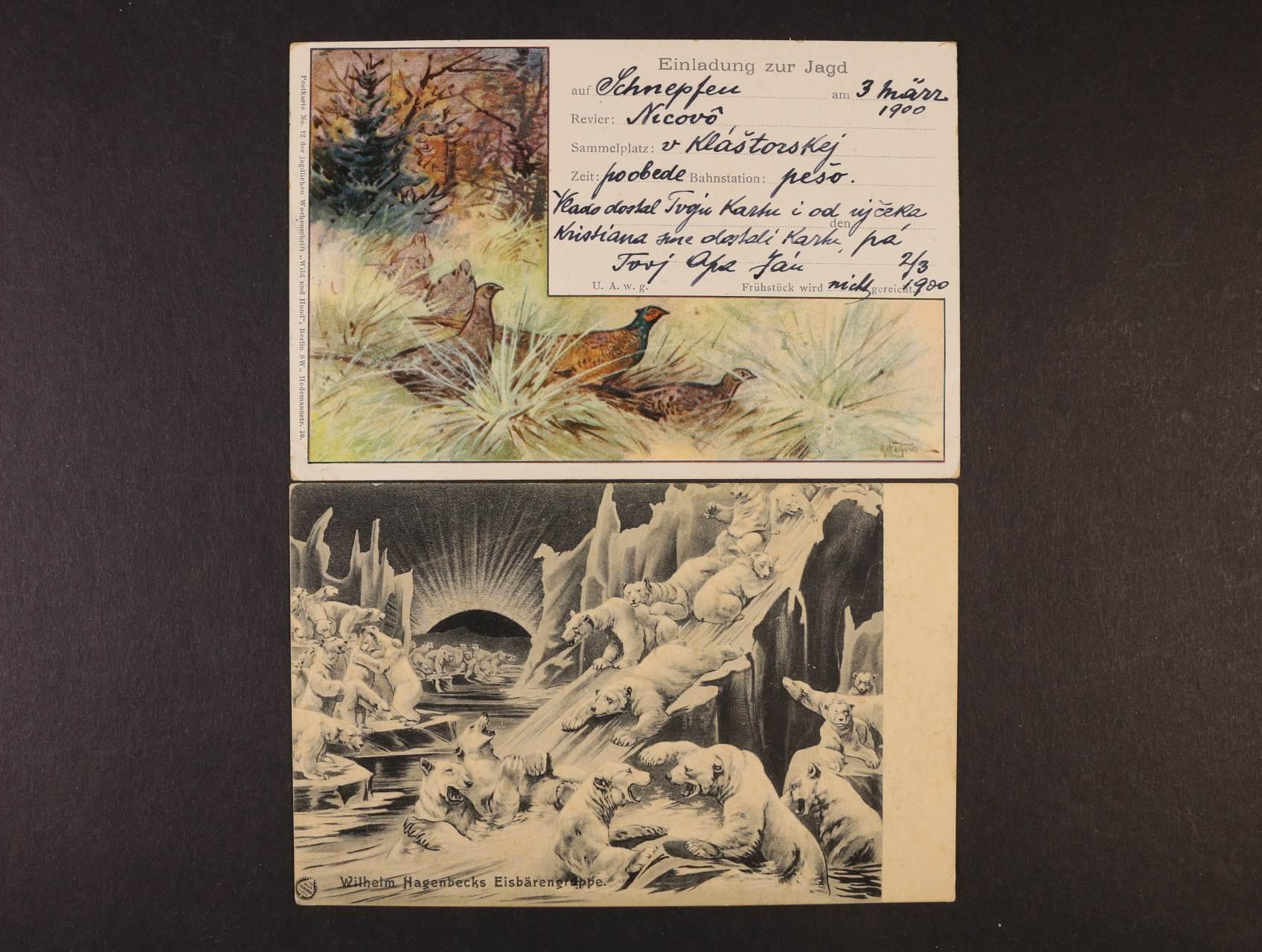 Fauna - jednobar. reklamní pohlednice nepoužitá Eisbärengruppe a bar. pohlednice Einladung zur Jagd použitá 1900, velmi dobrá kvalita