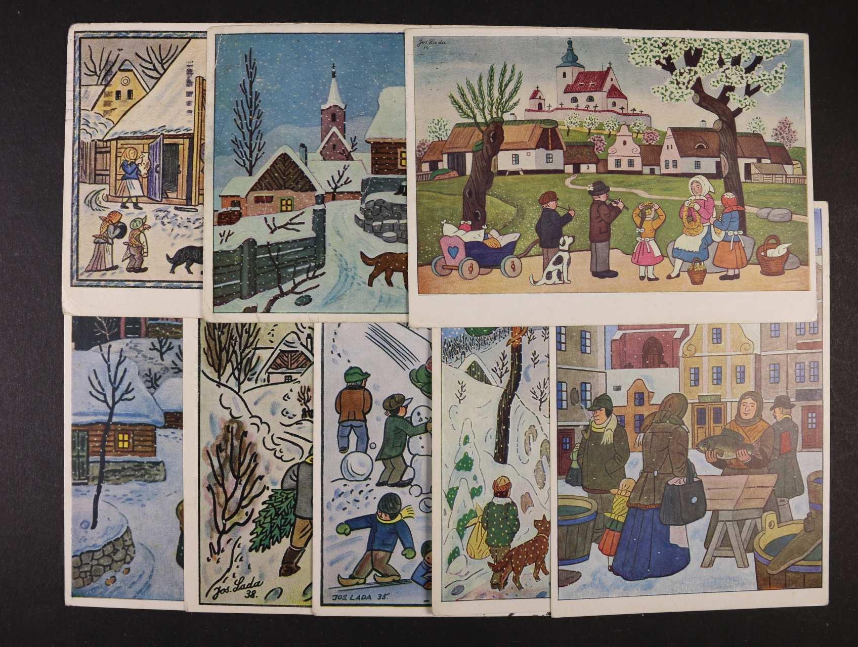 J. Lada - sestava 20 ks bar. pohlednic použitých v letech 1963 - 68