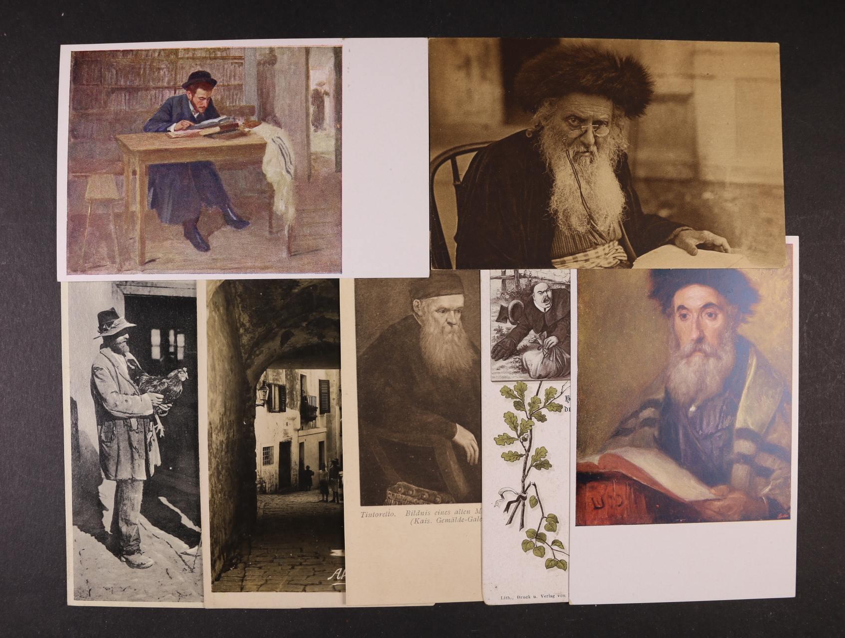 Judaika - sestava 10 ks bar. i jednobar. pohlednic s různými náměty z let 1910 - 33, použité i nepoužité, dobrá kvalita