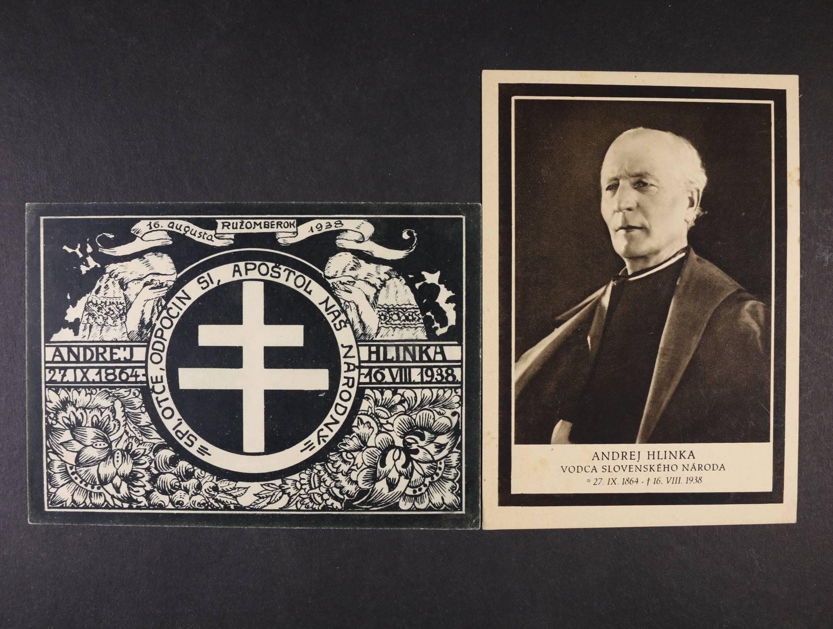 Osobnosti - dvě jednobar. pohlednice vydané k úmrtí A. Hlinky