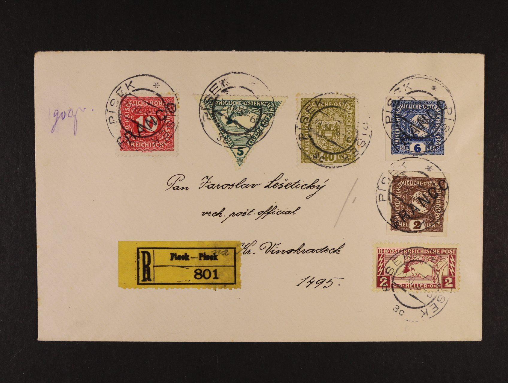 R-dopis adresovaný na vrchního pošt. oficiála Lešetického framk. zn. Mi. č. 194, 218, 219, 212, 214 a dopl. zn. P 48 jako výplatní, pod. raz. PÍSEK 29.11.18, velmi zajímavé