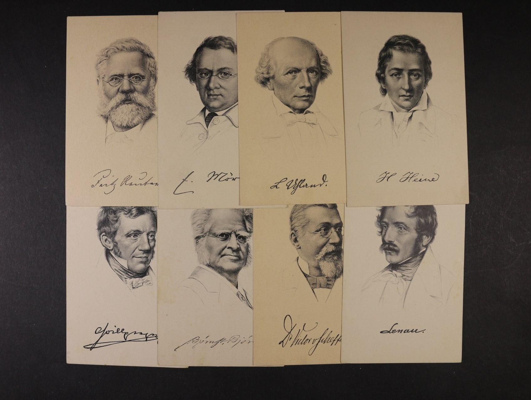 Osobnosti - sestava 9 ks jednobar. nepoužitých pohlednic s portréty Heine, F. Reuter, N. Lendau, R. Wagner, F. Liszt, 1x reliéfní Komenský