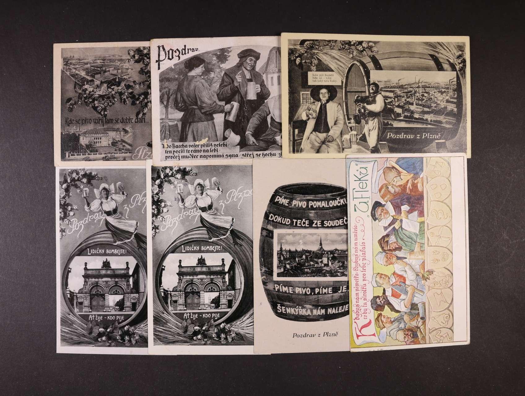 Pijácké - sestava 10 ks převážně jednobar. pohlednic plzeňských pivovarů