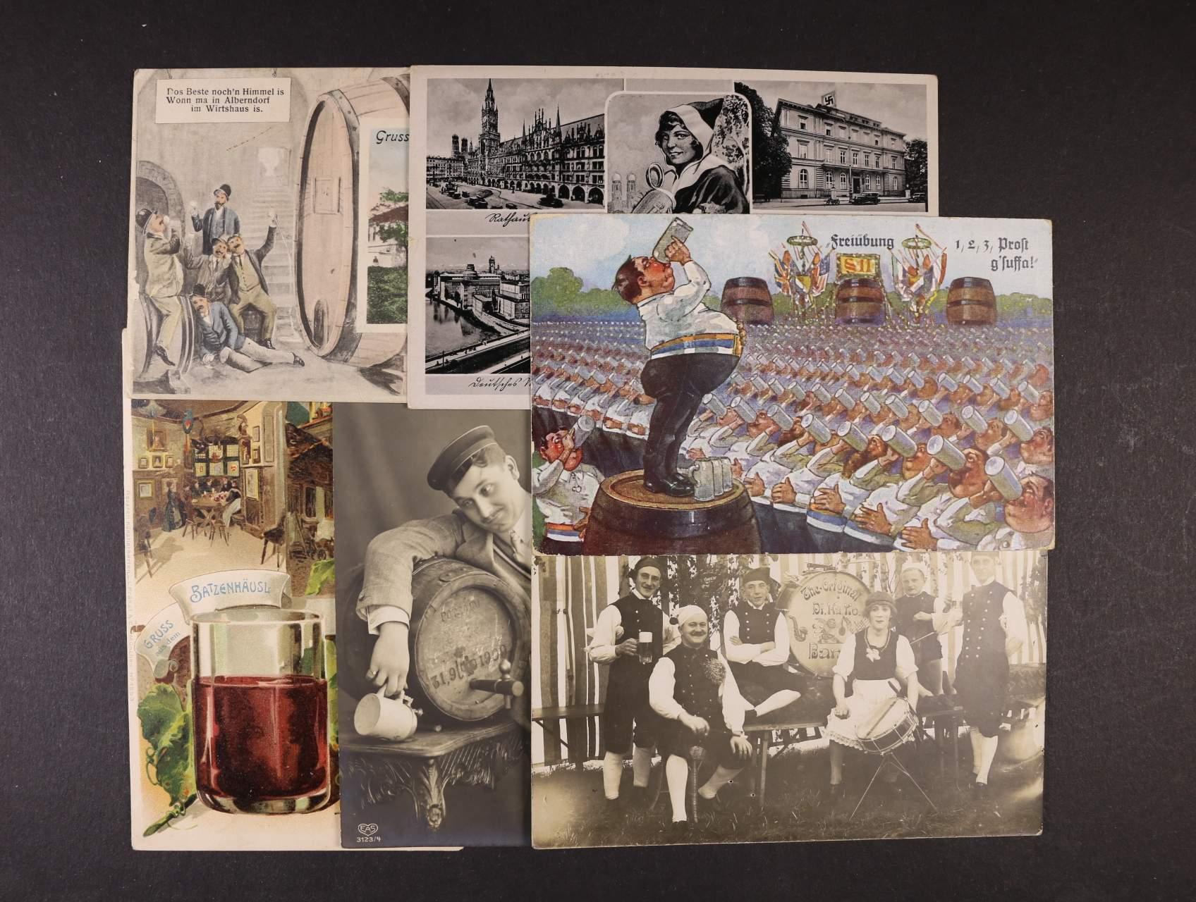 Pijácké - sestava 7 ks bar. i jednobar. pohlednic, použité, zajímavé