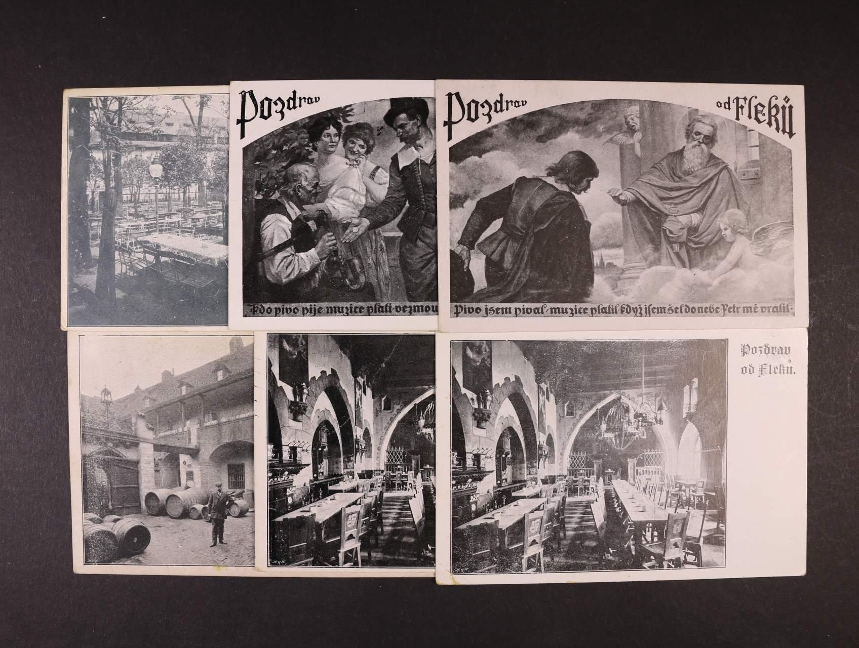 Pivovary - sestava 7 ks jednobar. pohlednic Pivovar u Fleků, použité, zajímavé