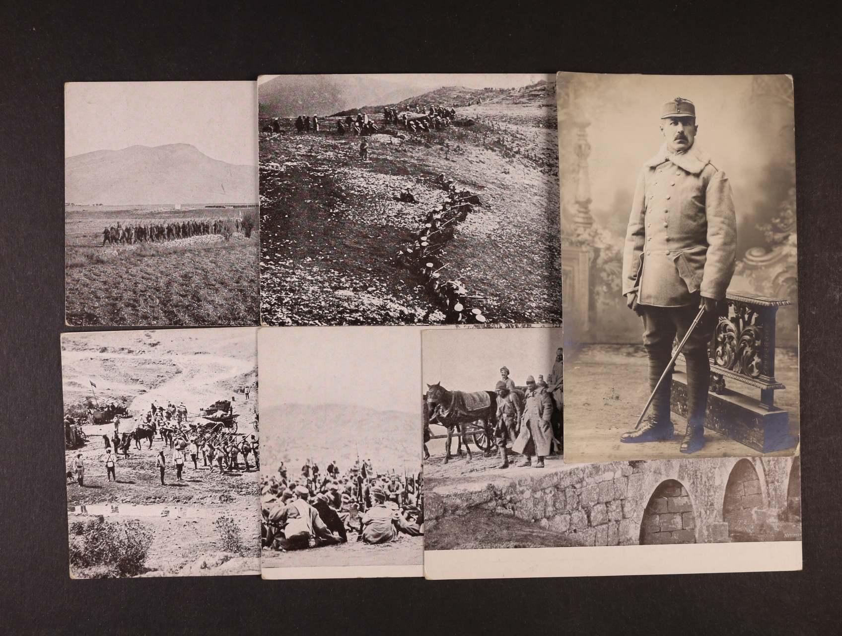 Vojenské - 6 ks fotopohlednic různých armád (bulharská pěchota, černohorské vojsko, útěk Turků ..., nepoužité