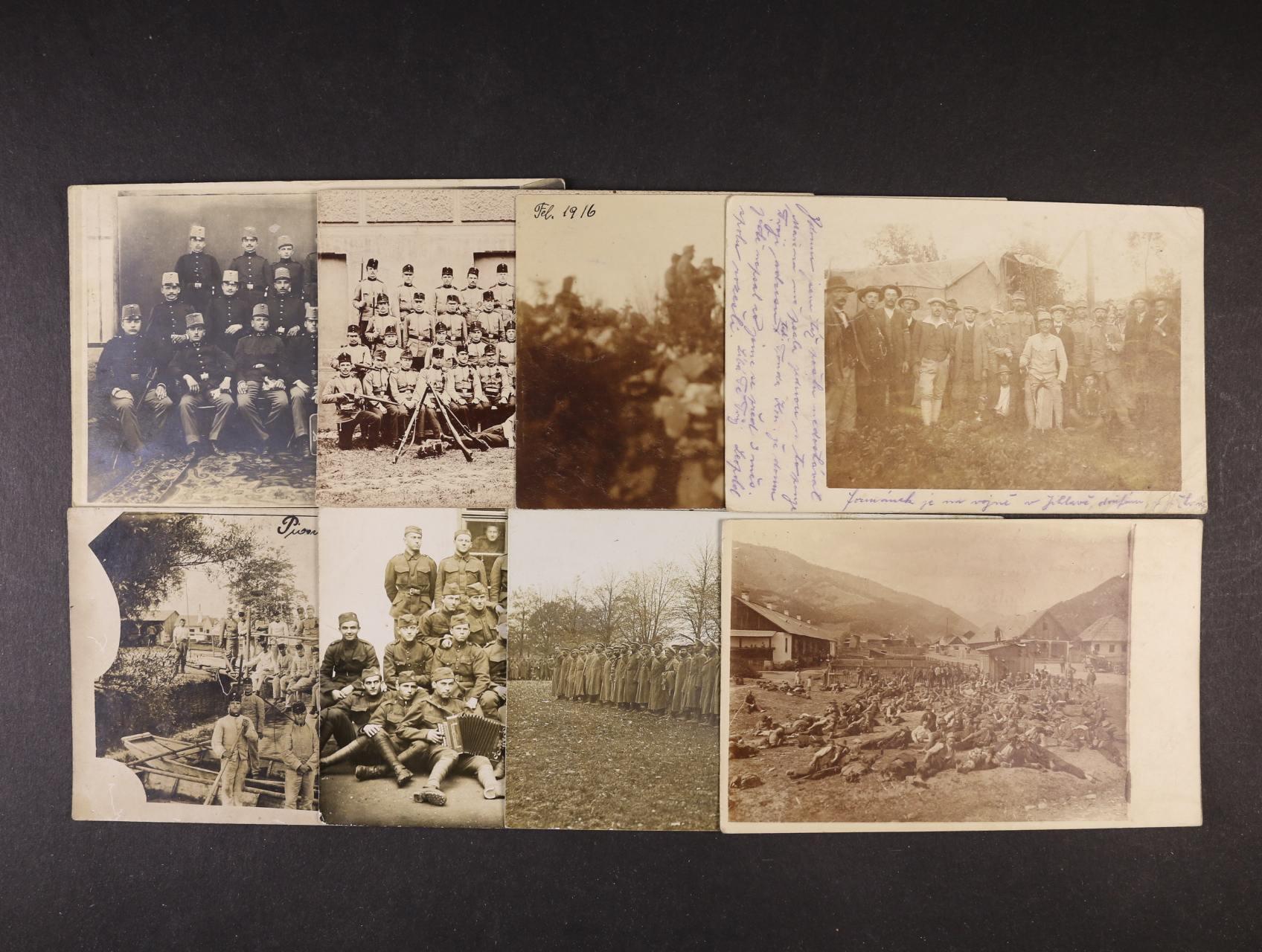 Vojenské - sestava 10 ks fotopohlednic různých voj. útvarů, použité během I. svět. války, zajímavé