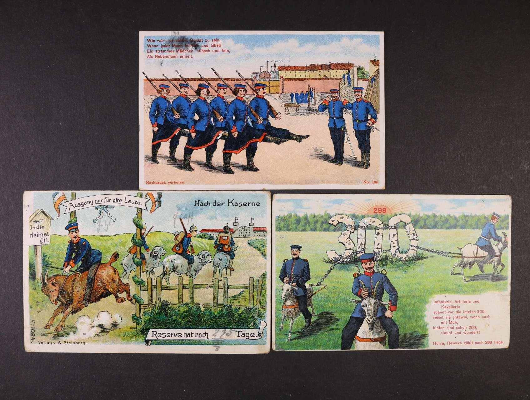 Vojenské - sestava 3 ks bar. žertovných litografií, použité 1909 - 12