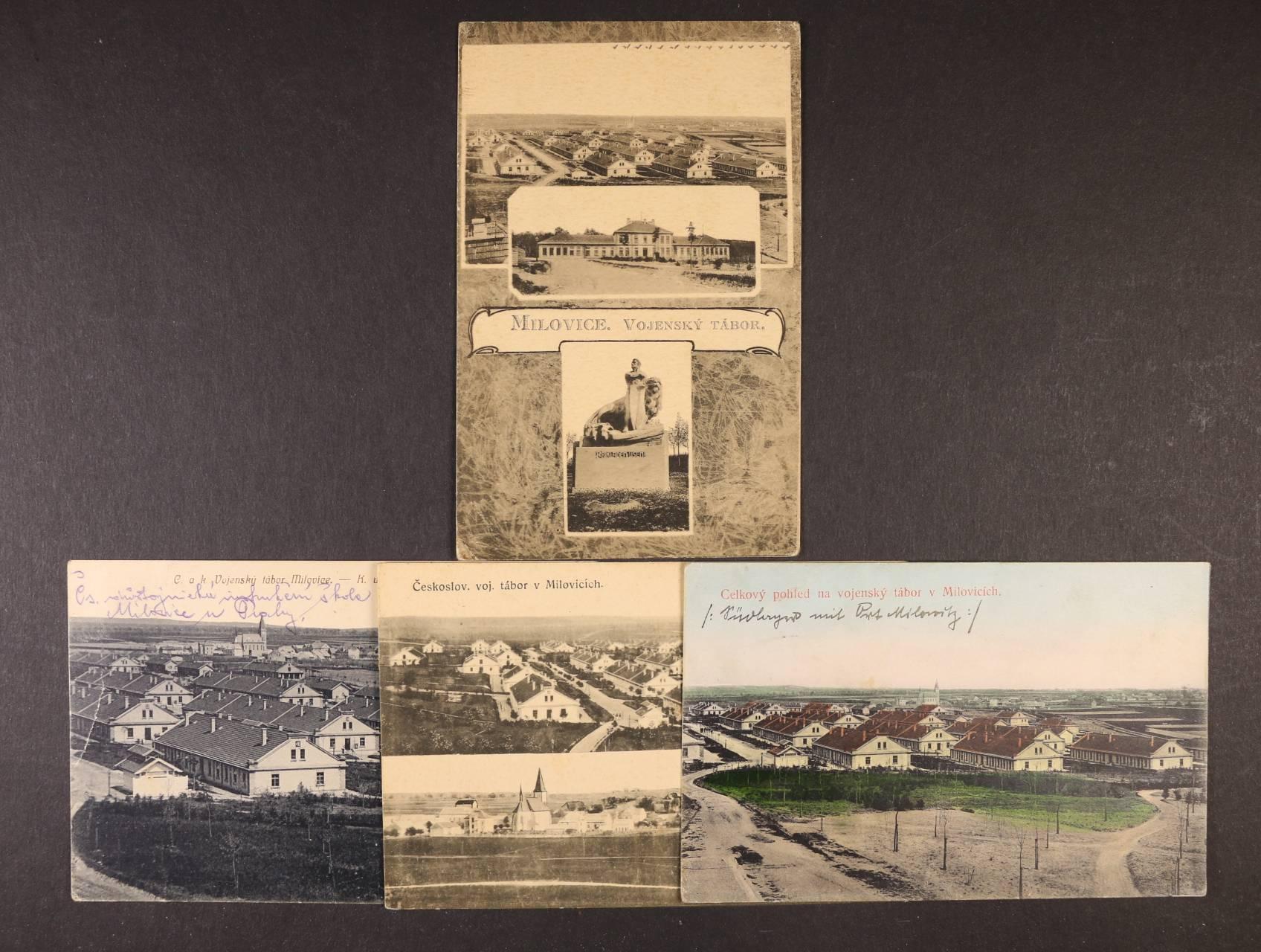 Vojenské - sestava 4 ks jednobar. pohlednic