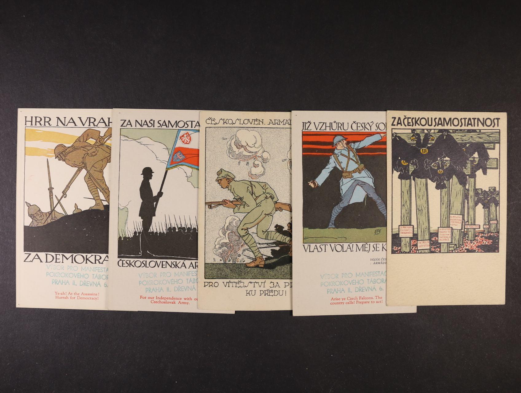 Vojenské - sestava 5 ks bar. pohlednic pro čs. legionáře na Sibiři, nepoužité