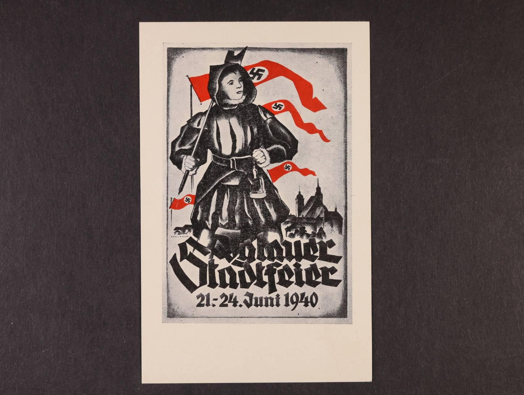 bar. pohlednice Iglauer Stadtfeier 21. - 24. Juni 1940, nepoužitá, na zadní str. pam. raz., lux. kvalita