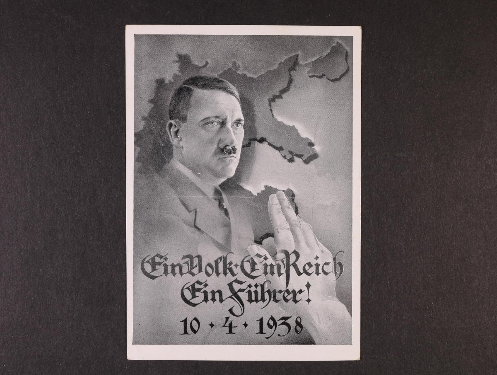 jednobar. koláž Ein Volk - Ein Reich - Ein Führer 10.4.38, na zadní str. zn. a různá pam. raz., zajímavé