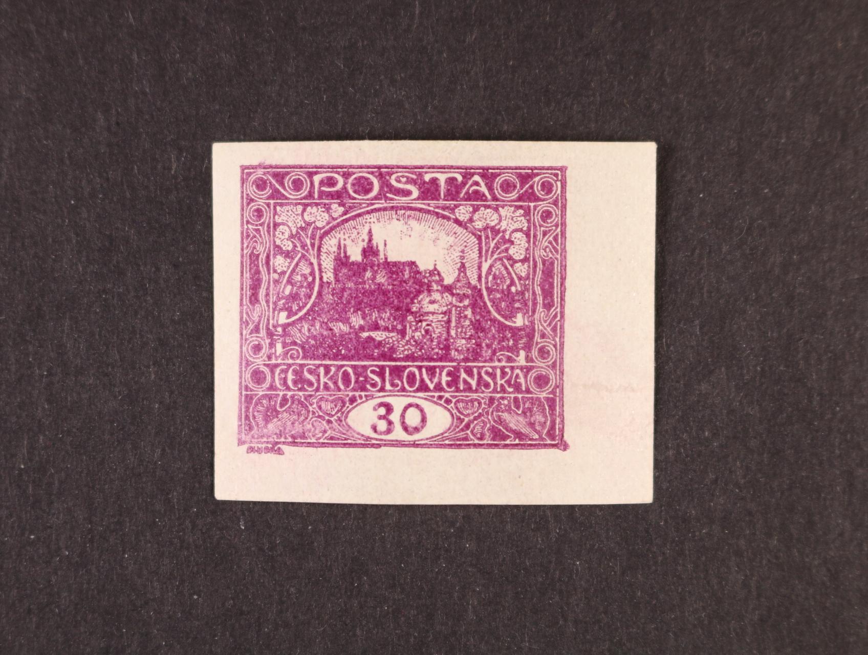 zn. č. 13 Na 30h tmavěfialová - pravý spodní roh. kus, ZP 100, zk. Gilbert, Vrba
