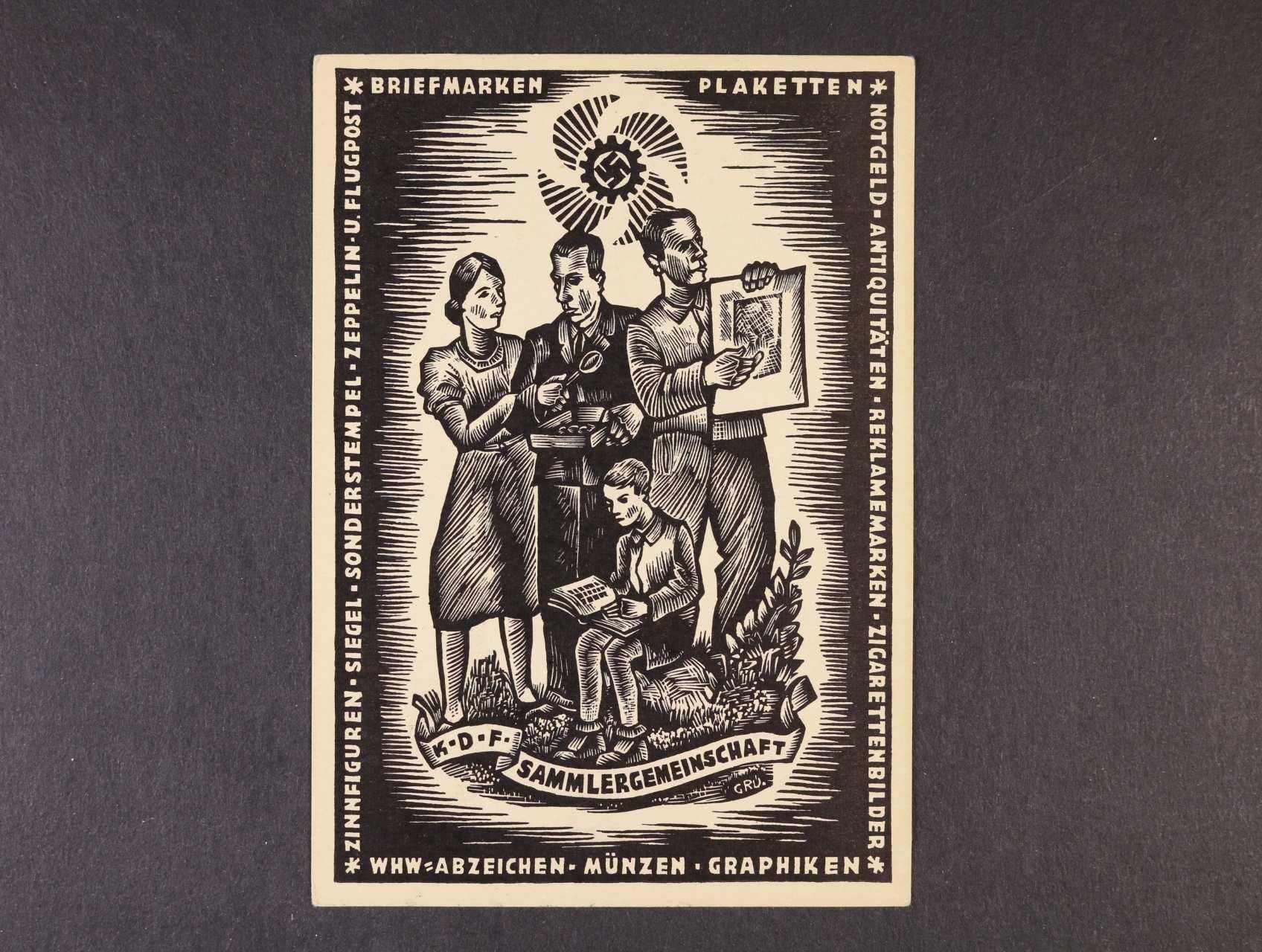 jednobar. pohlednice K.D.F. SAMMLERGEMEINSCHAFT, nepoužitá s pam. raz.