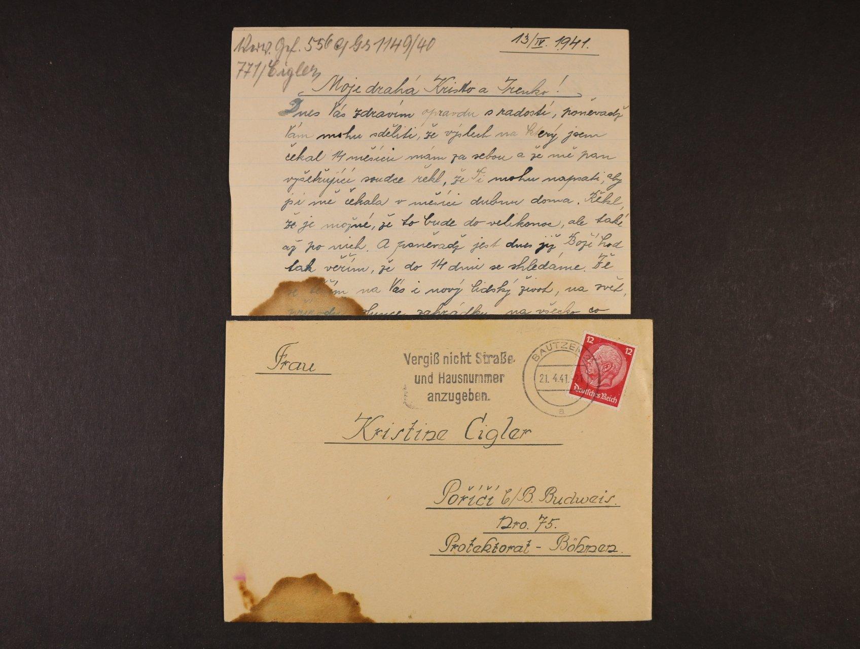 Bautzen - dopis vč. obsahu z věznice do Protektorátu frank. zn. 12pf Hindenburg, pod. raz. BAUTZEN 21.4.41, zajímavé