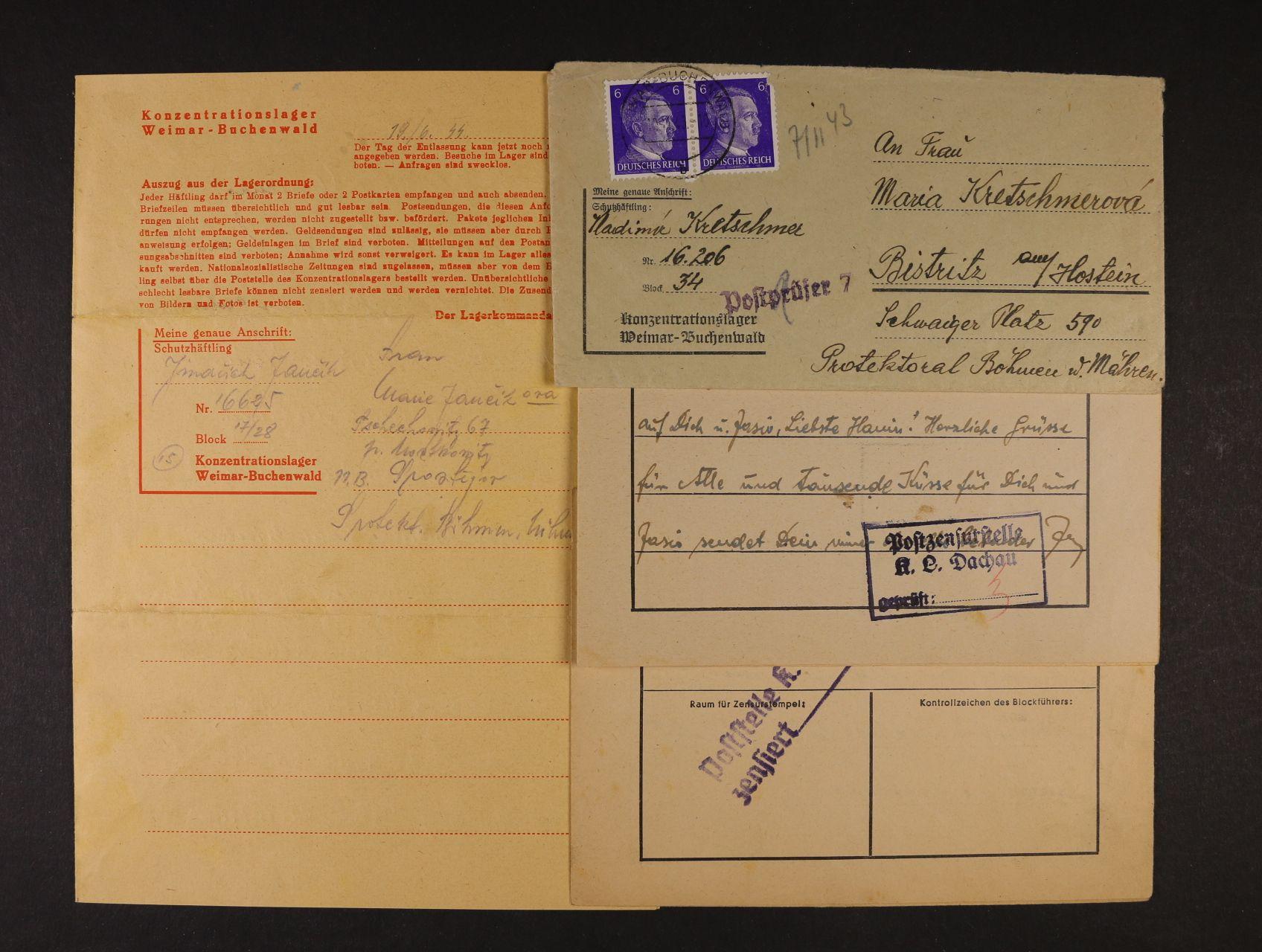 Buchenwald - dopis vč. obsahu + dva dopisy bez obálek z KT Gussen a Dachau, zajímavé