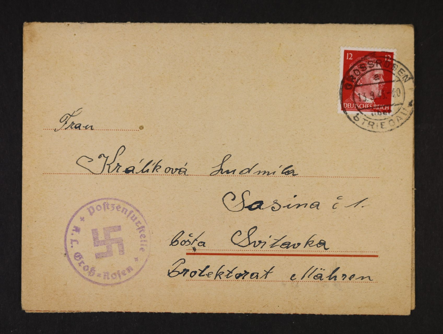 Grossrosen - skl. oficiální formulář frank. zn. 12pf A.H., pod. raz. GROSSROSEN STRIEGAU 13.9.43, velmi dobrá kvalita