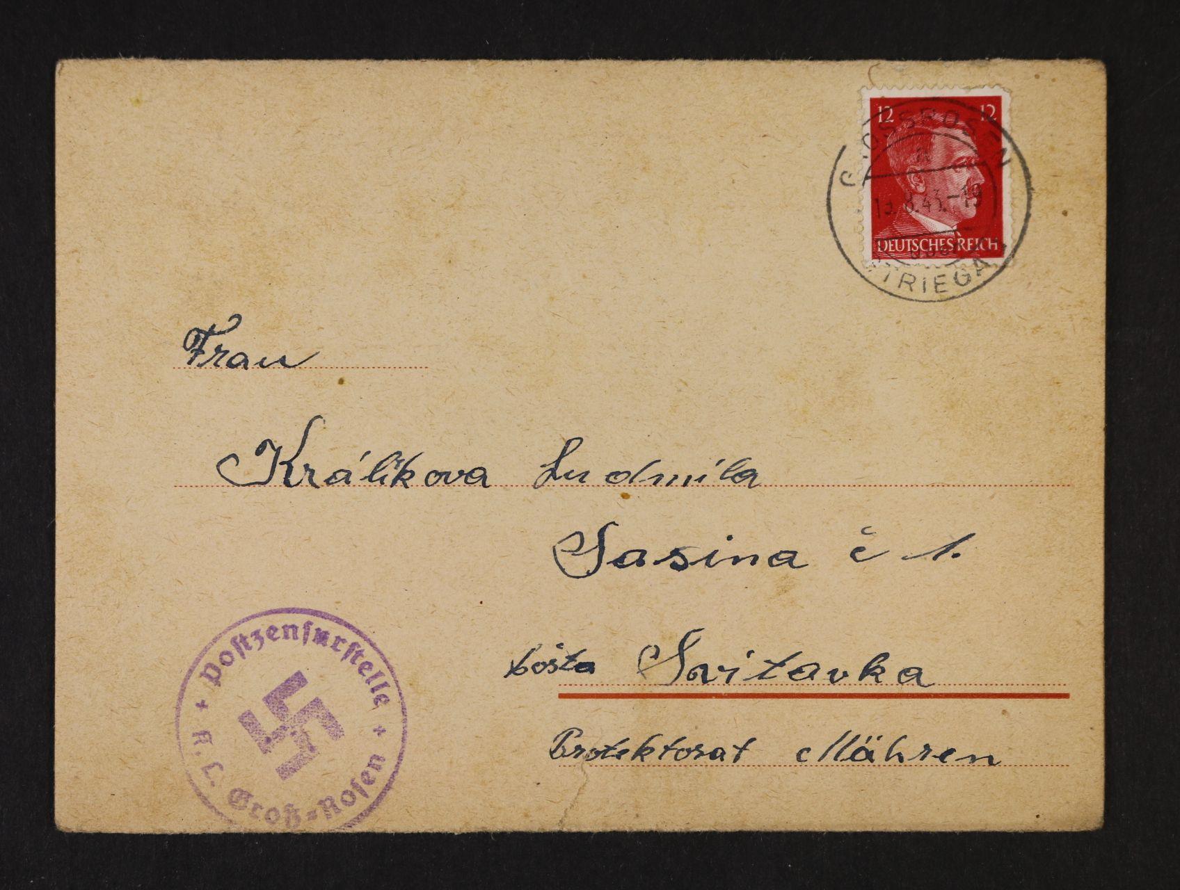 Grossrosen - skl. oficiální formulář frank. zn. 12pf A.H., pod. raz. GROSSROSEN STRIEGAU 15.8.43 + cenzurní raz., velmi dobrá kvalita