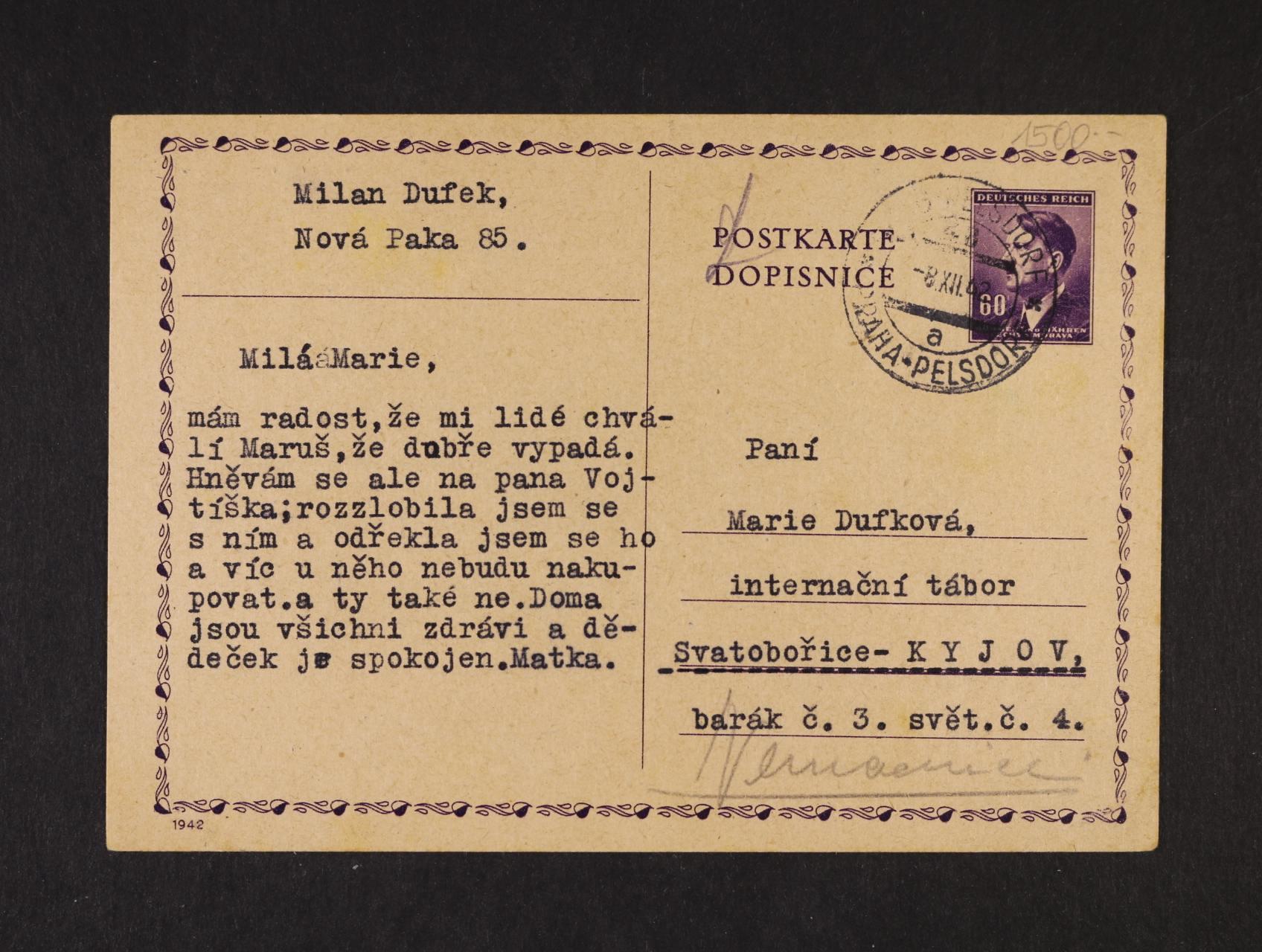 Svatobořice - Kyjov - celistvost do internačního tábora přepr. vlak poštou č. 48 8.12.42