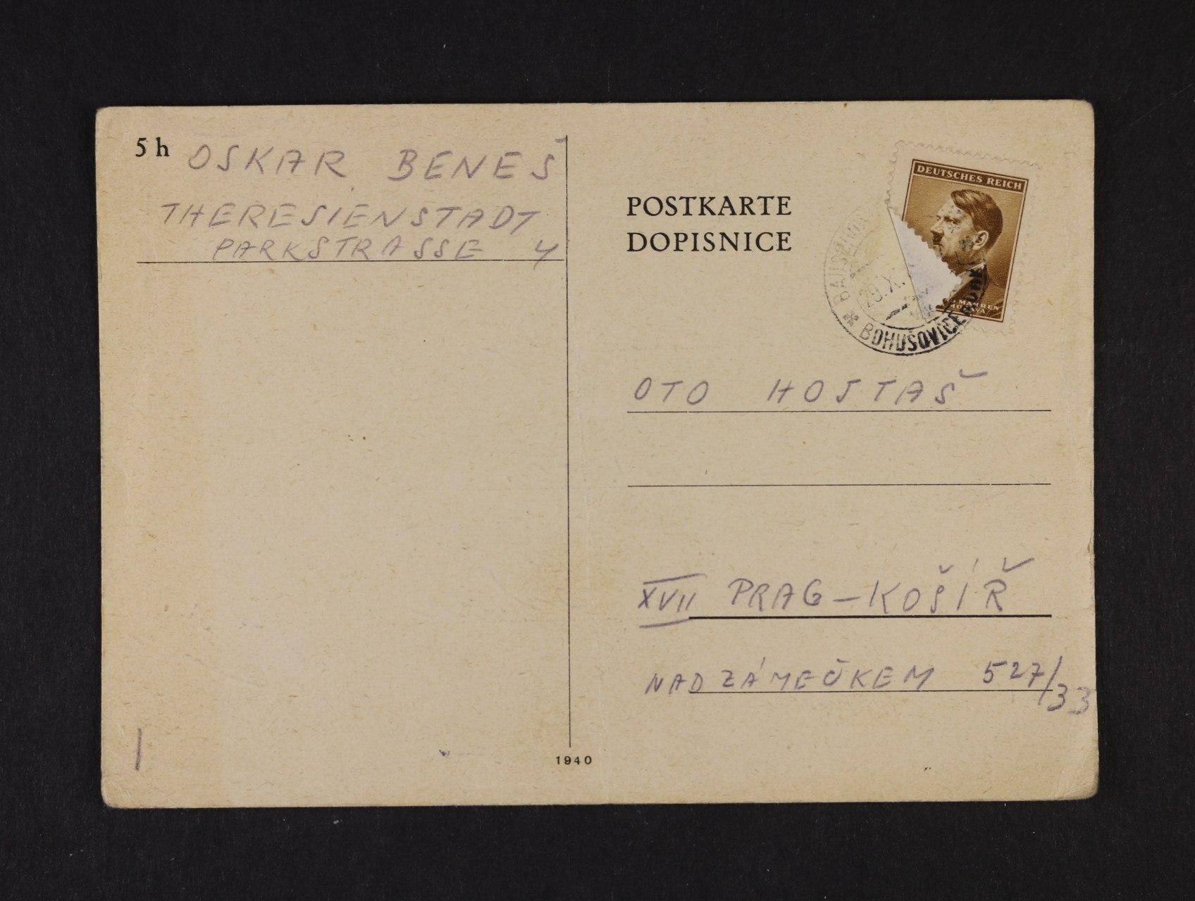 Terezín - předtištěný KL frank. zn. 30h A.H., pod. raz. BOHUŠOVICE 29.10.1943