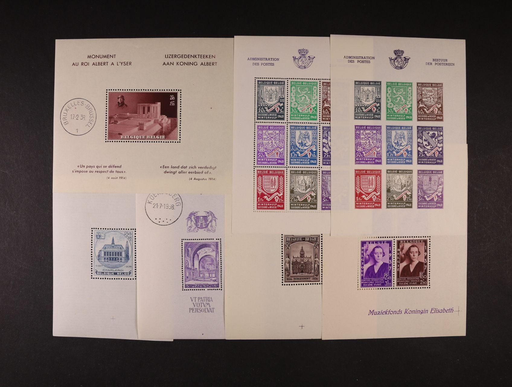 sestava Mi. Bl. 4-8, 9A, 9B, 14, 16, z let 1936 - 42, navíc aršík z Belgického Konga z r. 1937, kat. min. 600 EUR