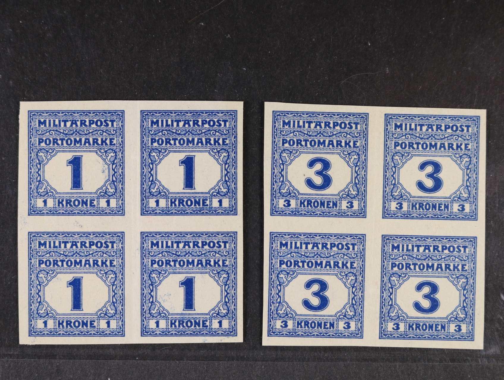 Doplatní zn. Mi. P 25, P 26, 1K a 3K  nezoubkované 4-bloky, kat. 1100 EUR