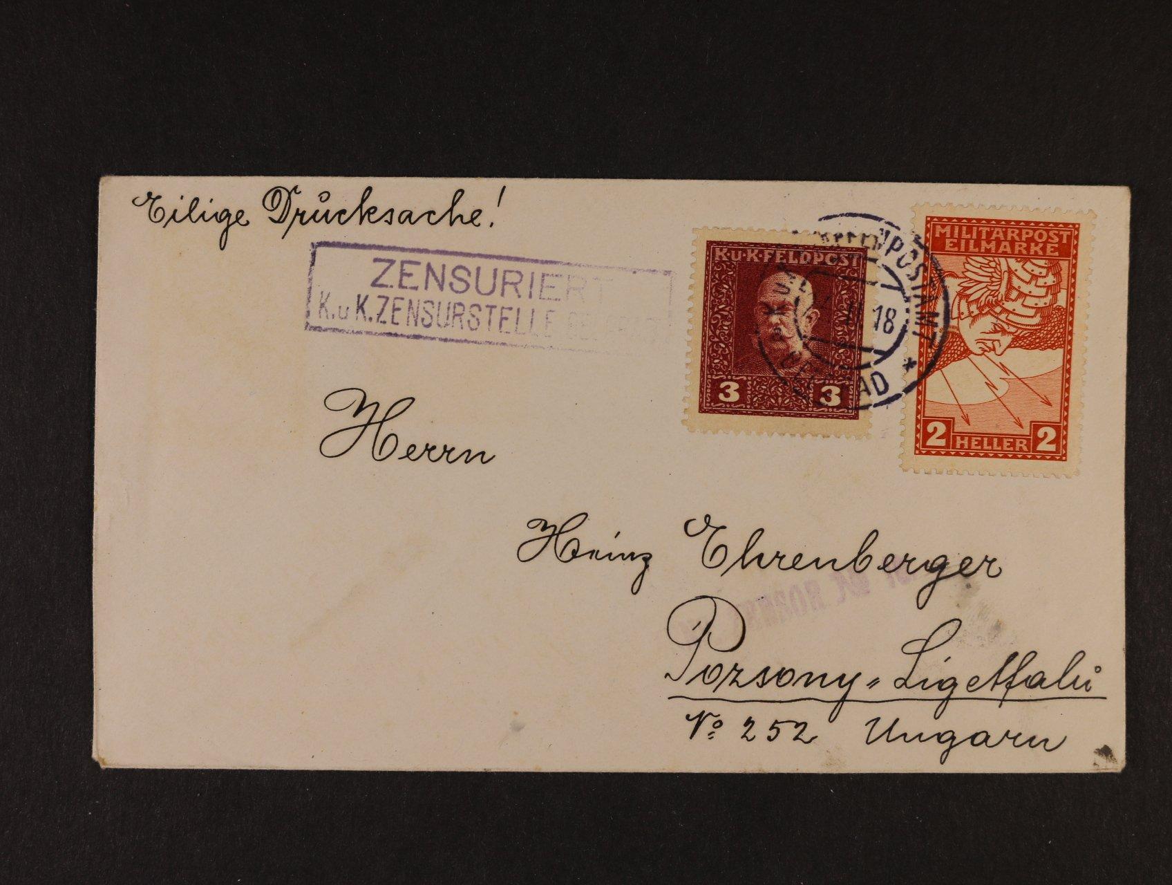spěšný tiskopis frank. spěšnou 2h Fe č. 117 a 3h Polní pošta (1915), z Bělehradu do Bratislavy, přesná frankatura 3+2h, kat. 250 EUR